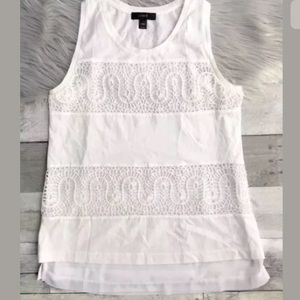 J Crew lace panel tank top in white